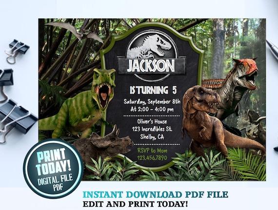 Jurassic World Birthday Invitation Park Etsy
