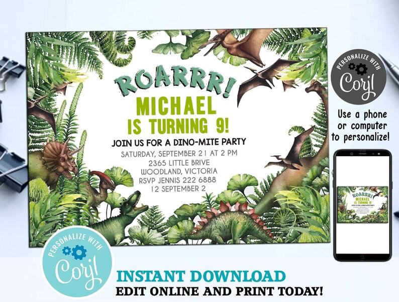Jurassic World Birthday Invitation Park