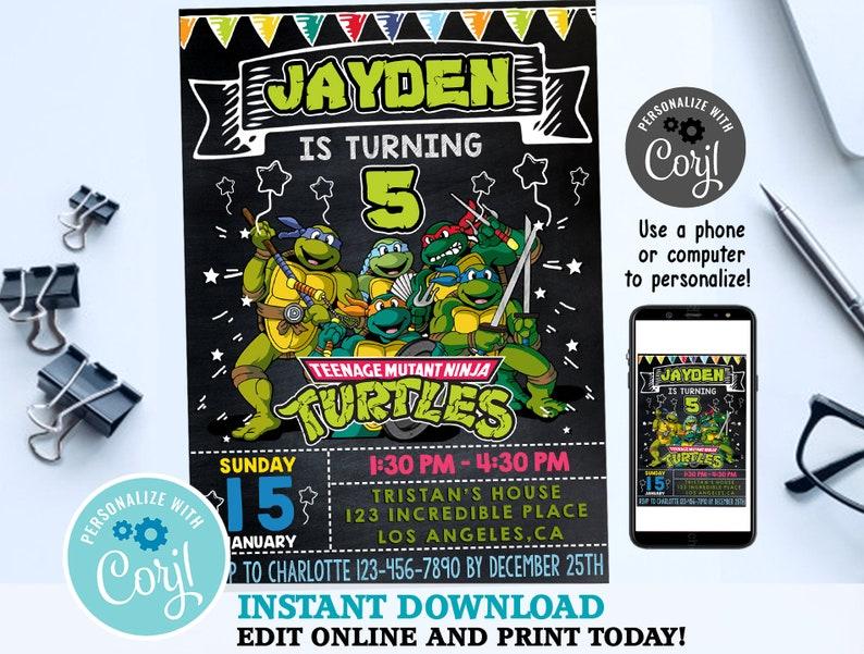 Ninja Turtle Invitation Turtles Party TMNT