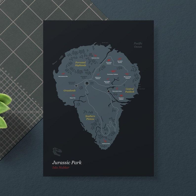 Juric Park Movie Poster Isla Nublar Map | Etsy on