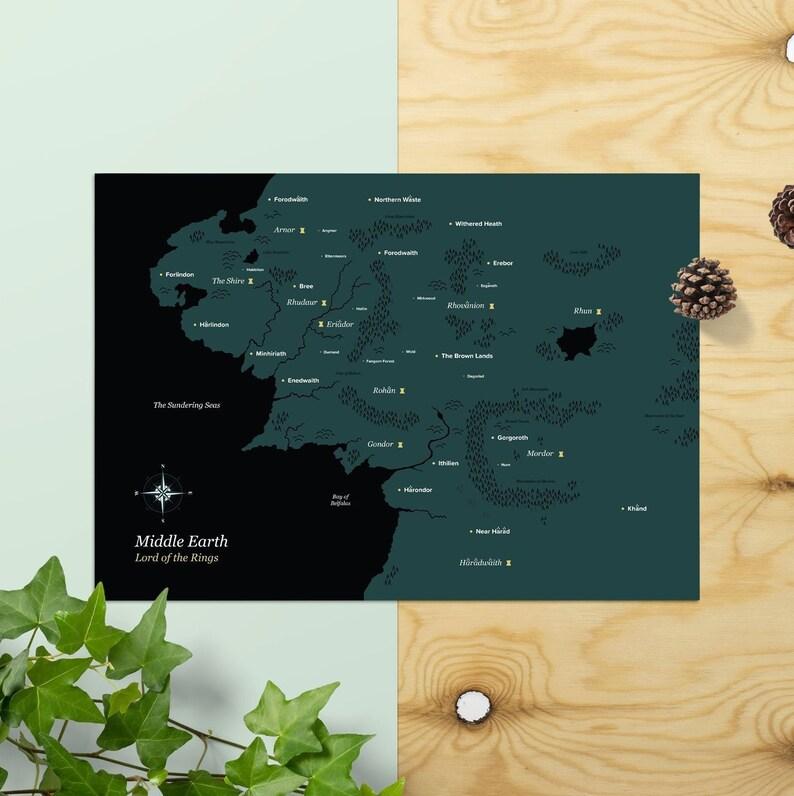 Mittelerde Karte Komplett.Herr Der Ringe Poster Mittelerde Karte
