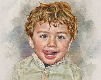 Custom Portrait, Baby portrait, Valentines gift , Memorial portrait, Digital Painting, Friendship gift, Custom Watercolor, Bride gift