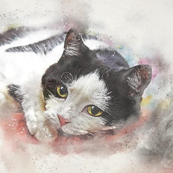 Retrato de gato personalizado, pintura de la foto, acuarela, monumento del animal doméstico, amante del gato, retrato del gato conmemorativo, regalo del día del padre, mensajes conmemorativos