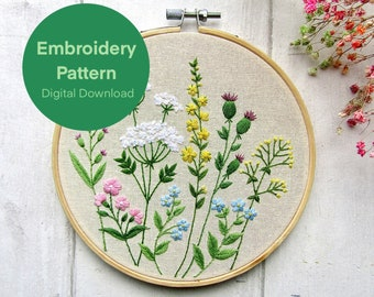 Wildflower Meadow Embroidery Pattern, Floral Embroidery Pattern, Beginners Hand Embroidery, Needlework Project, Instant Digital Download