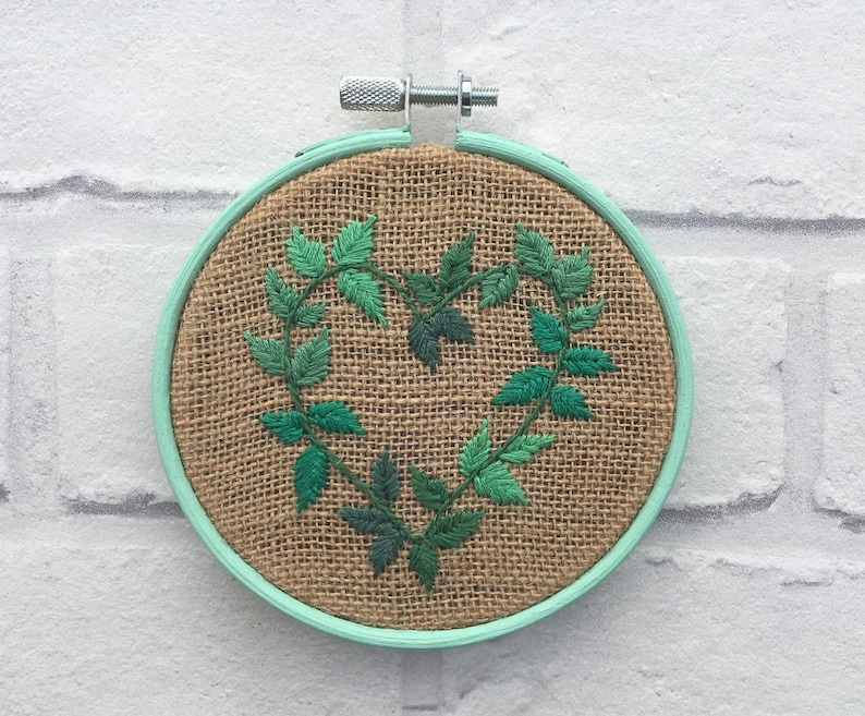 Heart Shaped Leaf Embroidery - Leaf Embroidery Art - Nature Home Decor -  Hessian Embroidery - Wall Hanging - Gift for Her - Fibre Art