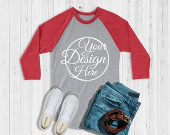 eaf00dee6 Next Level 6051 Red - Heather Grey Unisex Baseball Basic Raglan Mockup | Next  Level Mockup | Flat Lay | Mock Up | Simple Flat Lay