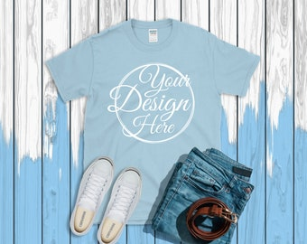 Light Blue T Shirt Gildan Mockup 64000 Canvas Unisex Shirt Red T