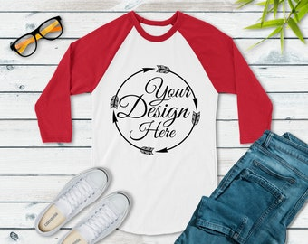 7ec4813a3 Next Level 6051 Red - White Unisex Baseball Basic Raglan Mockup | Next  Level Mockup | Flat Lay | Mock Up | Simple Flat Lay