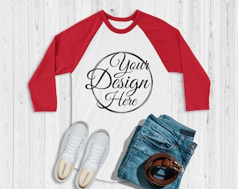 f7e299c8b Next Level 6051 White - Red Unisex Baseball Basic Raglan Mockup | Next  Level Mockup | Flat Lay | Mock Up | Simple Flat Lay