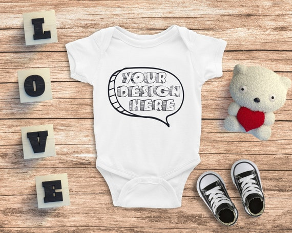 Baby Mock up Fashion Design Styled Stock Photography Blank White Baby One Piece Mockup JPG Download Flat Top View on Chalkboard Texture