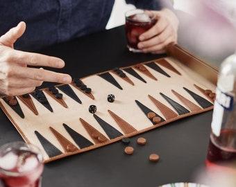 Personalised Leather Travel Backgammon Set