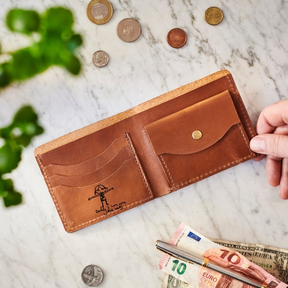 Mens Leather Wallet 'deluxe' With Child's Masterpiece by Etsy