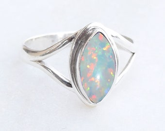 White Lab Opal Filigree Heart Promise Ring .925 Sterling Silver Band Sizes 5-10
