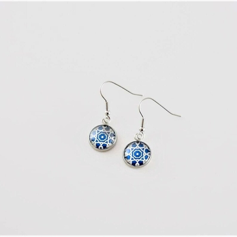 Boho style presents for women Gifts for her portuguese tiles jewelry Lisbon azulejo Dangle and drop stainless steel Portugal earrings