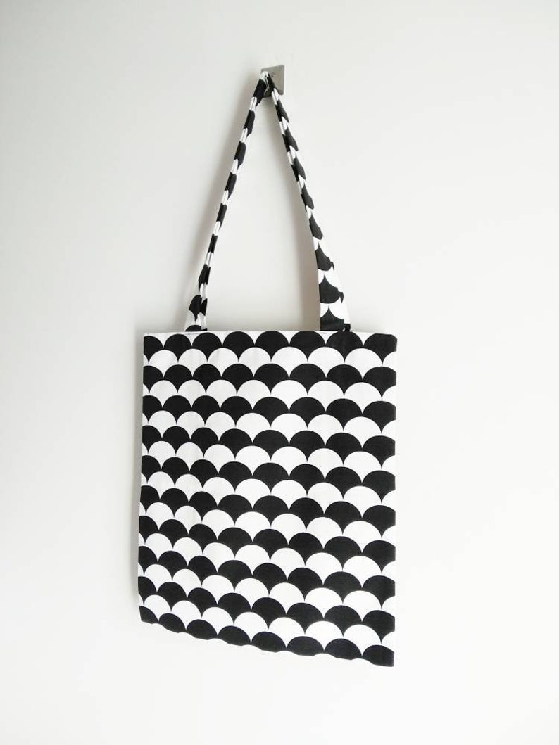 strong high quality reusable tote Tote bag bag for him eco tote bag black and white print with inside pocket