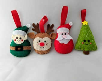 4 felt christmas decorations santa elf christmas tree rudolph christmas ornaments garland