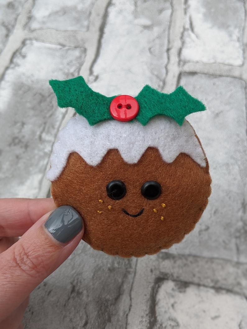 Christmas Pudding Christmas Ornament. Kawaii Felt Festive image 0