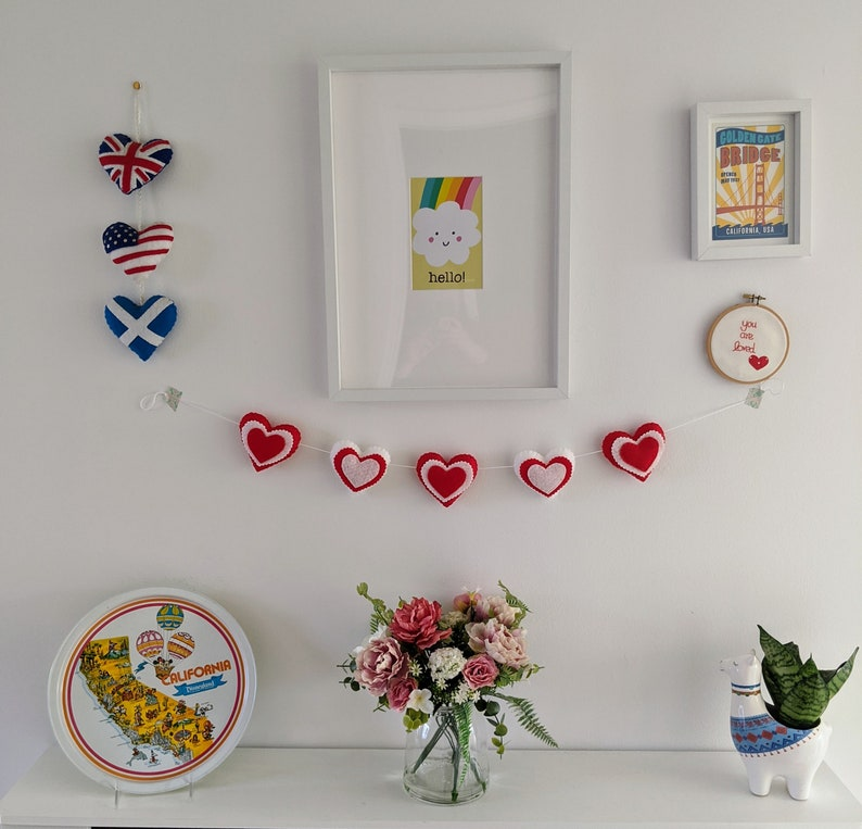 Red and White Valentine Heart Felt Garland Lightly padded St image 0