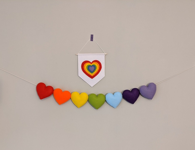 Rainbow Heart Garland. Love Banner. Colourful Playroom Wall image 0