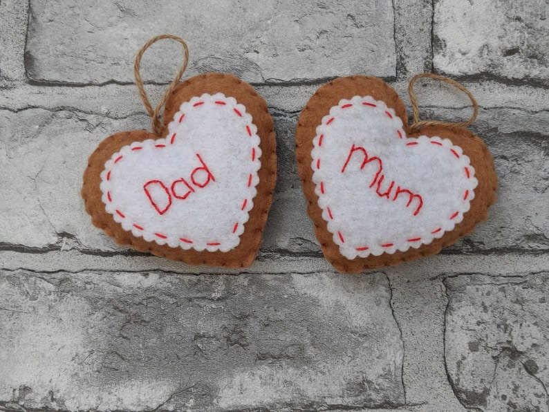 Personalised Felt Gingerbread Hearts Christmas Ornaments. image 0