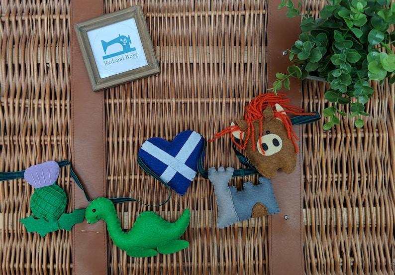 Scotland Felt Garland  Thistle Castle Nessie Loch Ness image 0