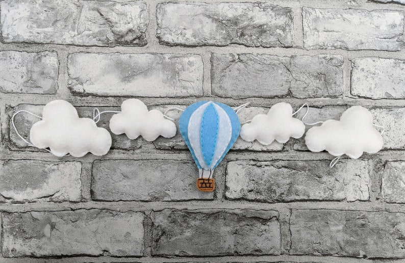Hot Air Balloon with Clouds Felt Garland  perfect Nursery image 0