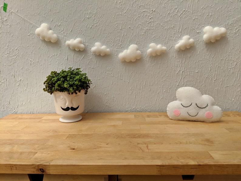 Felt Cloud Garland White Cloud Bunting Nursery Decor Baby image 1