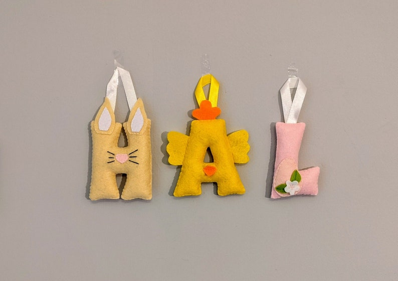 Easter Initial Decoration Felt Spring Letter Ornament image 0