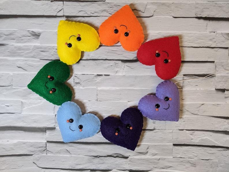 Kawaii Rainbow Heart Garland. Happy Face Love Bunting. Felt image 0