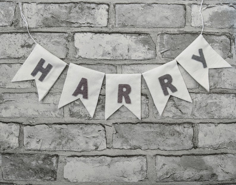 Personalised Grey and White Pennant Name Banner. Stylish image 0