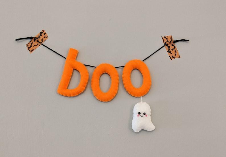 boo Halloween Ghost Decoration. Felt boo Wall Hanging. Cute image 0