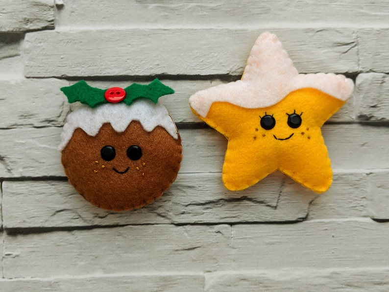 Christmas Pudding and Snowy Star Christmas Ornament. Handmade image 0