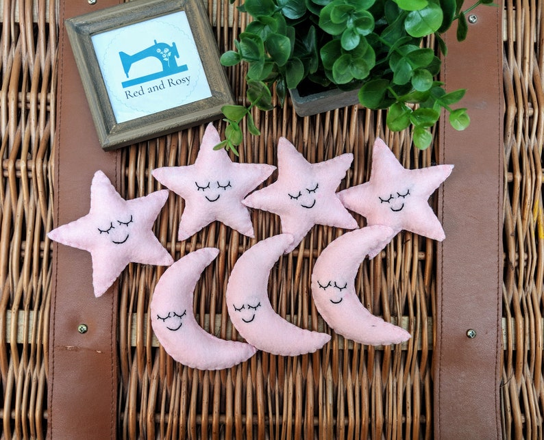 Pink Star and Moon Nursery Garland Baby Pink Baby Shower image 0
