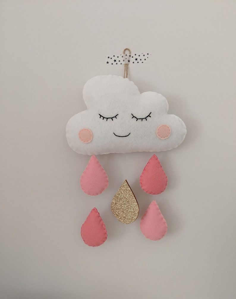 Cloud and Raindrop Pink and Gold Wall Hanging Felt Baby Girl image 0
