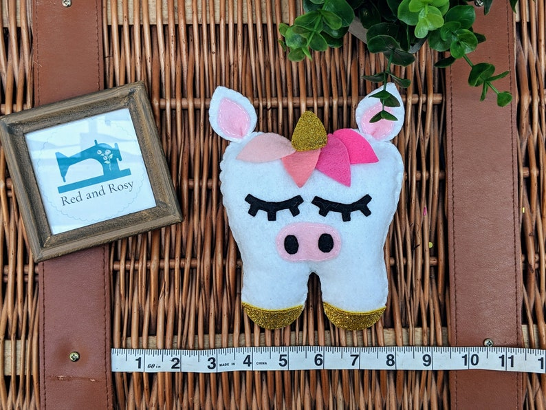 Unicorn Tooth Pillow Felt Tooth Pillow Tooth Holder Plush image 0
