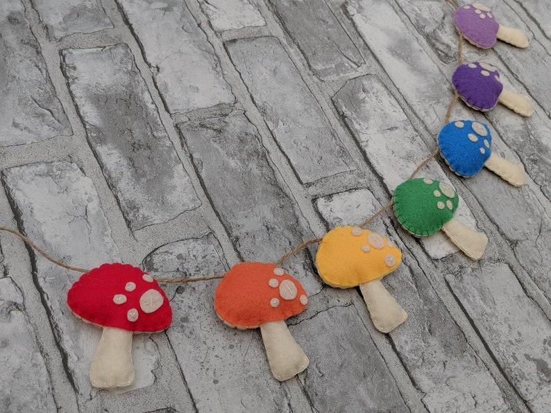 Rainbow Toadstool Felt Garland. Colourful Nursery Decor with a image 0