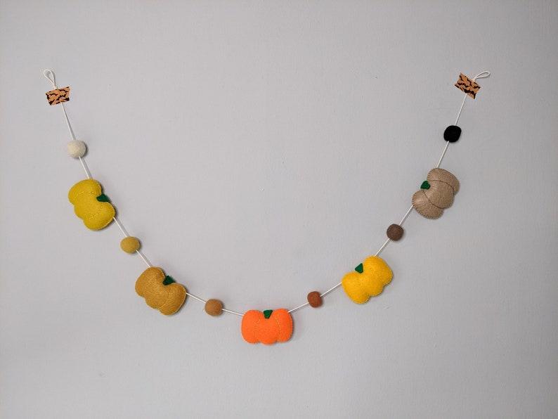 Felt Pumpkin Garland. Autumn Theme Bunting. Autumnal Themed image 0