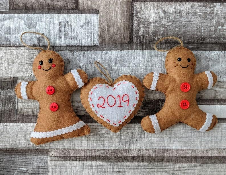 Felt Gingerbread Christmas Ornaments  Gingerbread Man image 0