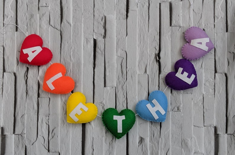 Personalised Rainbow Heart Name Banner Handmade Felt Rainbow image 0