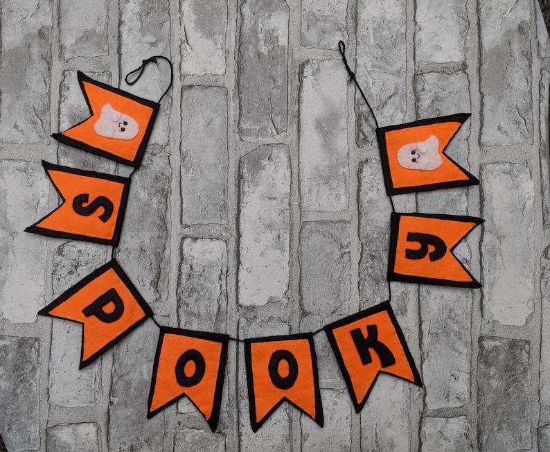 Spooky Halloween Pennant Garland. Ghost Felt Name Banner. image 0