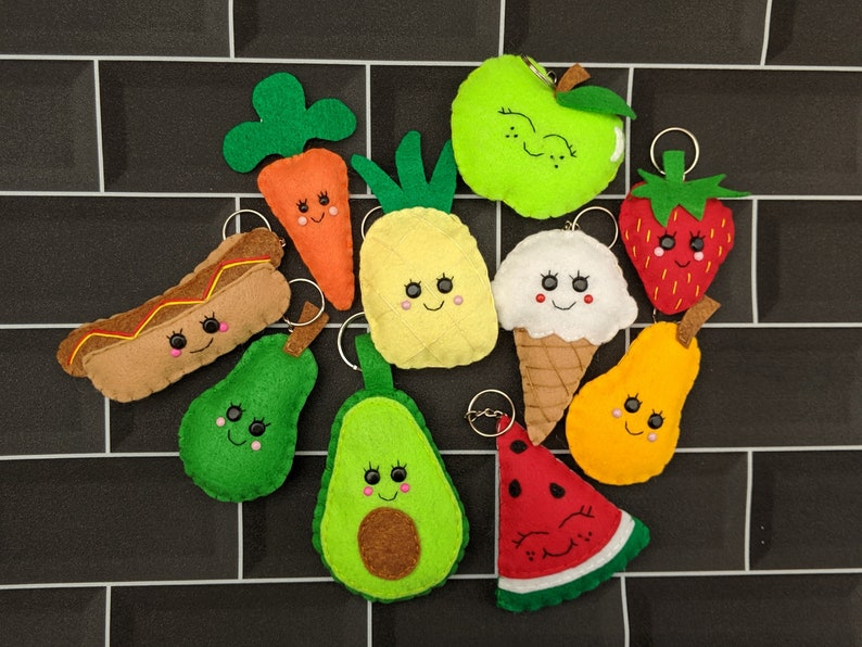 Kawaii Felt Food Key Chains Party  Key Ring Favour Pack of image 0