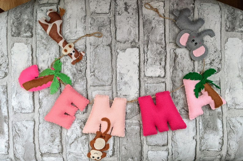 Pink Jungle Name Banner with Giraffe Elephant Monkey and image 0