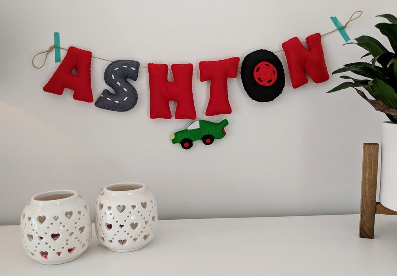 Car Name Banner Personalised Name Garland with a car theme. image 0