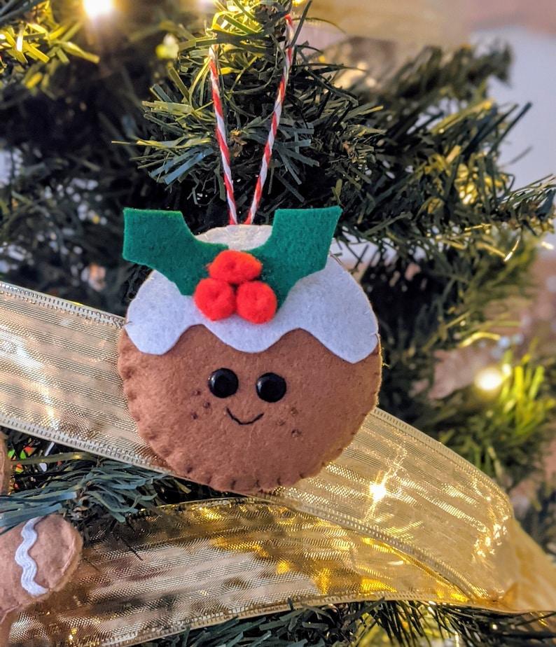 Festive Christmas Pudding Ornament. Felt Xmas Plum Pudding image 0