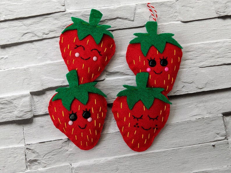 Strawberry Festive Ornaments Felt Christmas Strawberry image 0