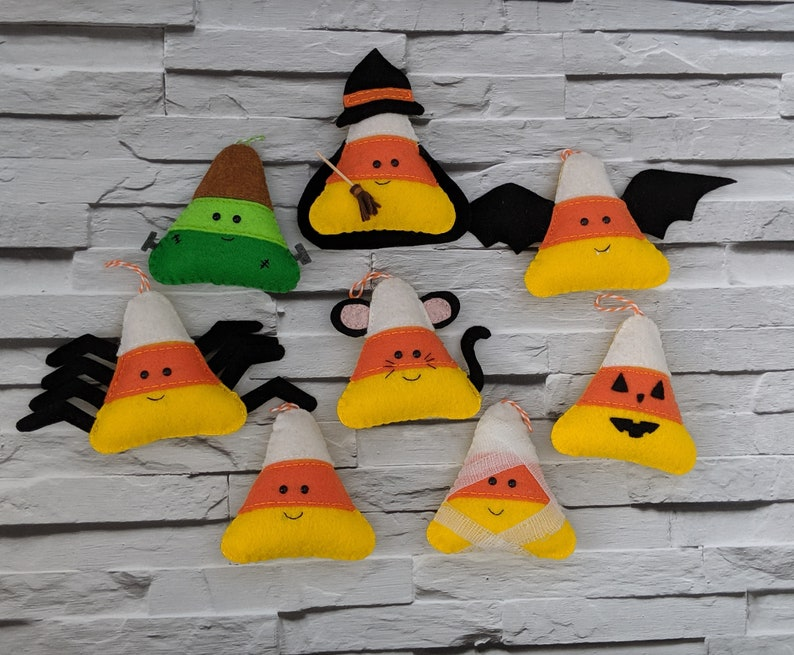 Halloween Candy Corn Decorations  Bundle of 8 including Cat image 0