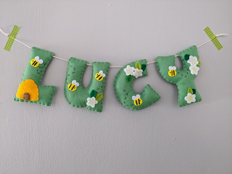 Bee Name Garland Felt Personalised Name Banner. Bumble Bee image 0