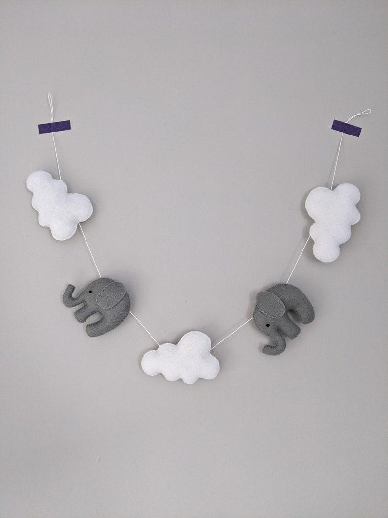 Felt Elephant & Cloud Garland. Kids Bedroom Decor. Bedroom image 0
