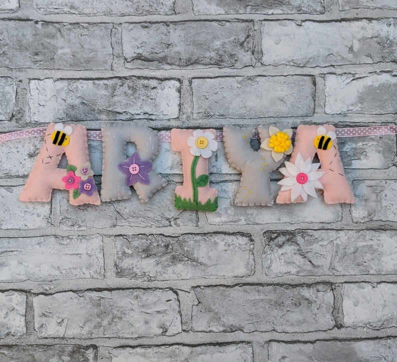 Handmade Flower and Bee Name Banner  Baby Girl Nursery Decor image 0