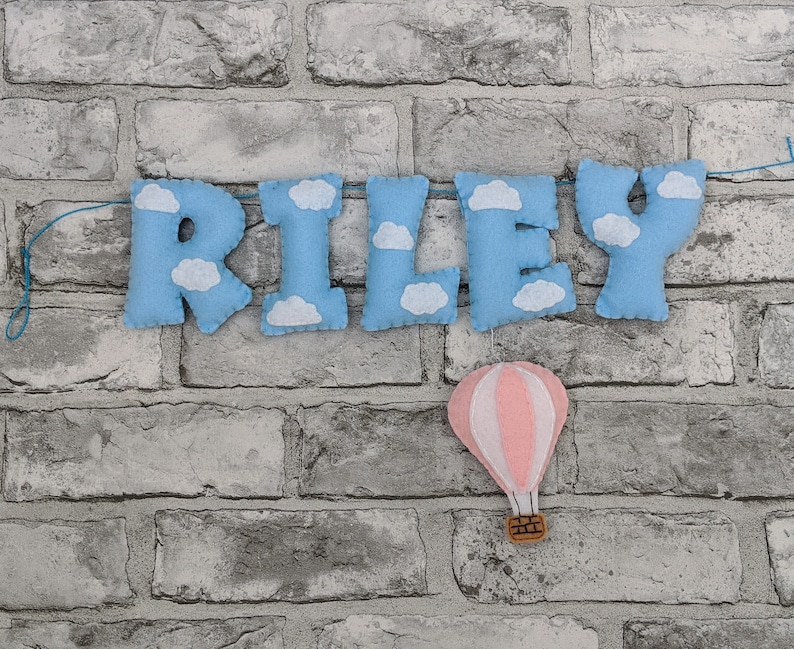 Personalised Hot Air Balloon Name Banner with White Clouds. image 0